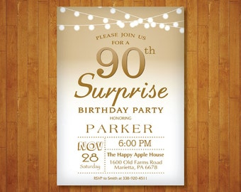 Surprise 90th Birthday Invitation Gold And White String Lights 80th Any Age Adult Men Or Women Bday Printable Digital