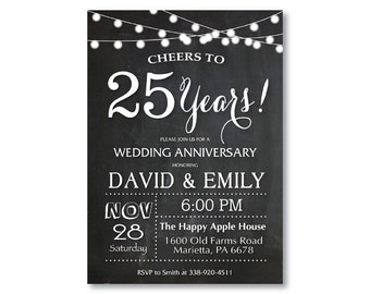 25th anniversary invitations etsy 25th wedding anniversary invitation chalkboard string lights black and white 20th 30th 40th any year printable digital customized card stopboris Images