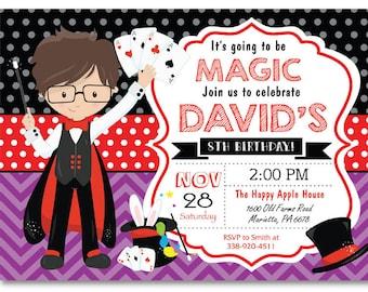 magic invitation magic party magician party invitation etsy