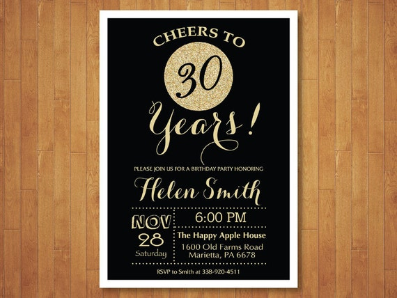 30th Birthday Invitation Black And Gold Glitter Cheers To 30