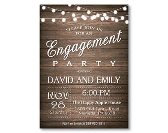 Engagement Party Invitation, Engagement Invitation. Rustic String Lights Wood. Printable Digital.