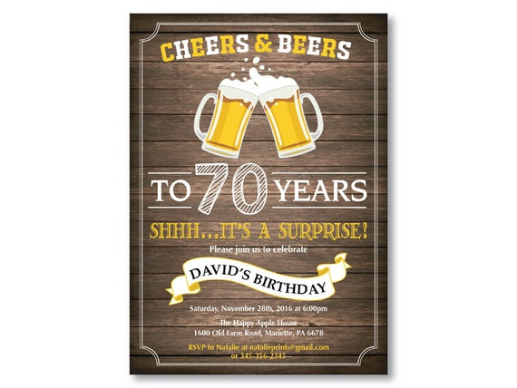 Surprise 80th Birthday Invitation Cheers And Beers To 80