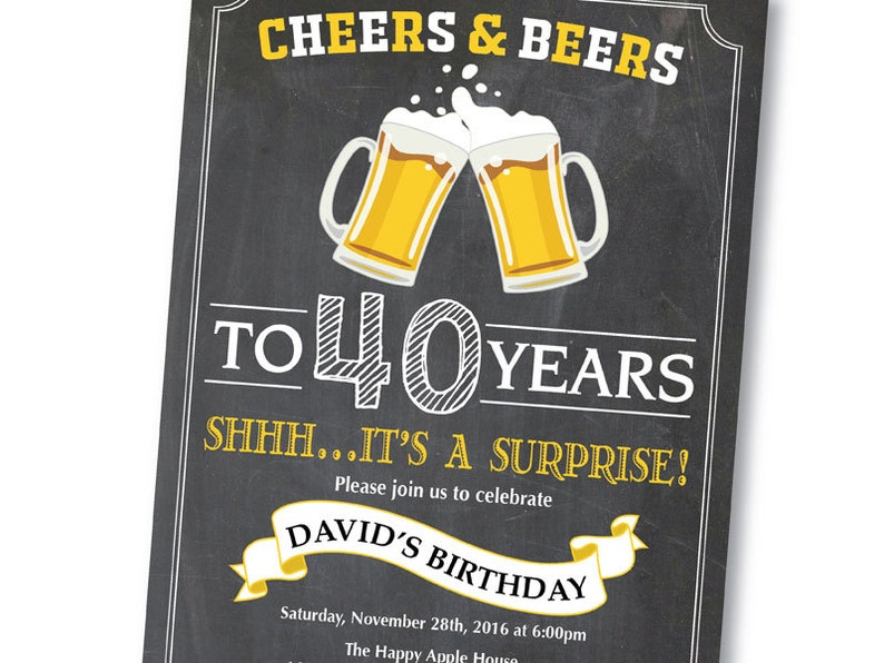 Surprise 40th Birthday Invitation Cheers And Beers To 40