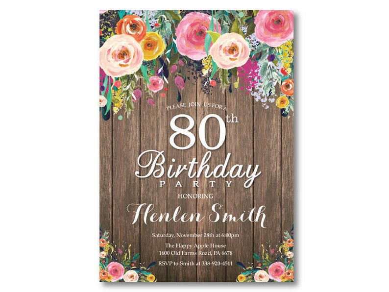 80th Birthday Invitation For Women Rustic Watercolor Floral Flower 40th 50th 60th 70th Any Age Printable Digital
