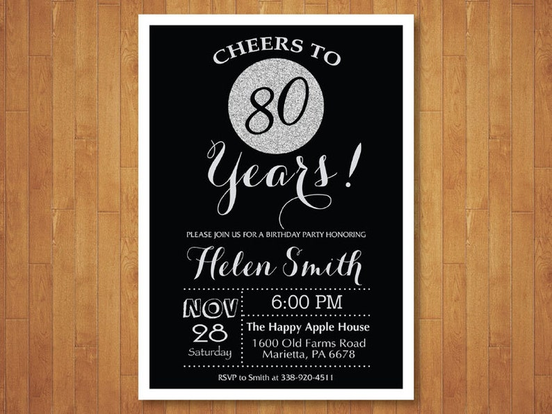 80th Birthday Invitation Black And Silver Glitter Cheers To
