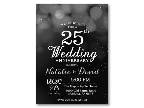 25th Wedding Anniversary Invitation Black And Silver Glitter Bokeh 10th 20th 25th 30th 40th Any Year Printable Digital Customized Card