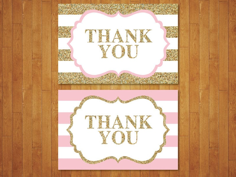 Black Stripes Black and Gold Thank You Card Thank You Note Pink DIY. Gold Glitter Instant Download Printable Digital Black and Gold