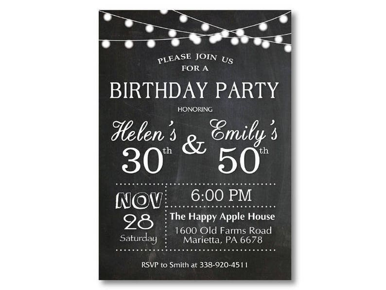 Adult Joint Birthday Invitation Party Combined Co Black And White Chalkboard Printable Digital