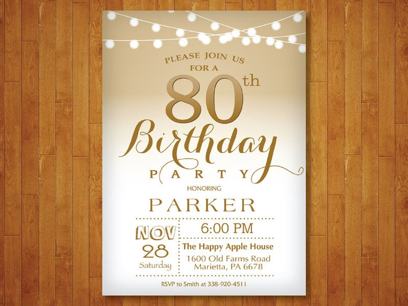 80th Birthday Invitation Gold And White String Lights 70th