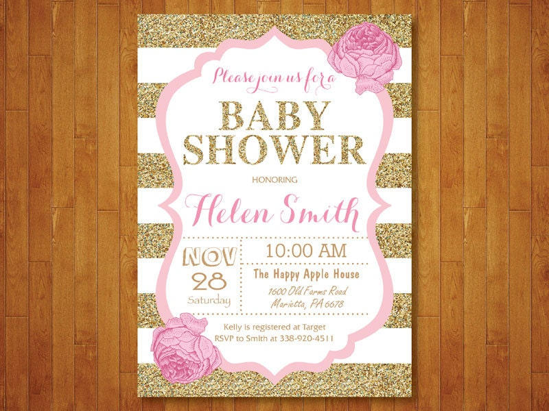 Pink And Gold Baby Shower Invitation Pink Black Gold Glitter Etsy