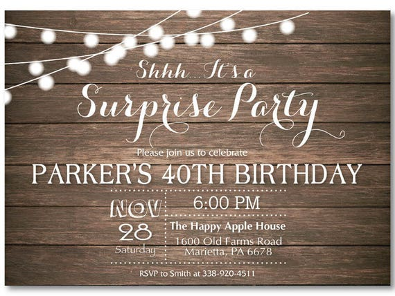 Surprise 40th Birthday Invitation Rustic 30th 50th 60th 70th