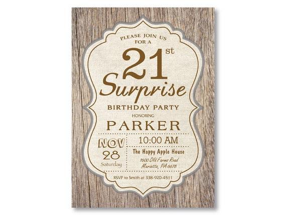 Surprise 21st Birthday Invitation Rustic Wood Vintage 16th