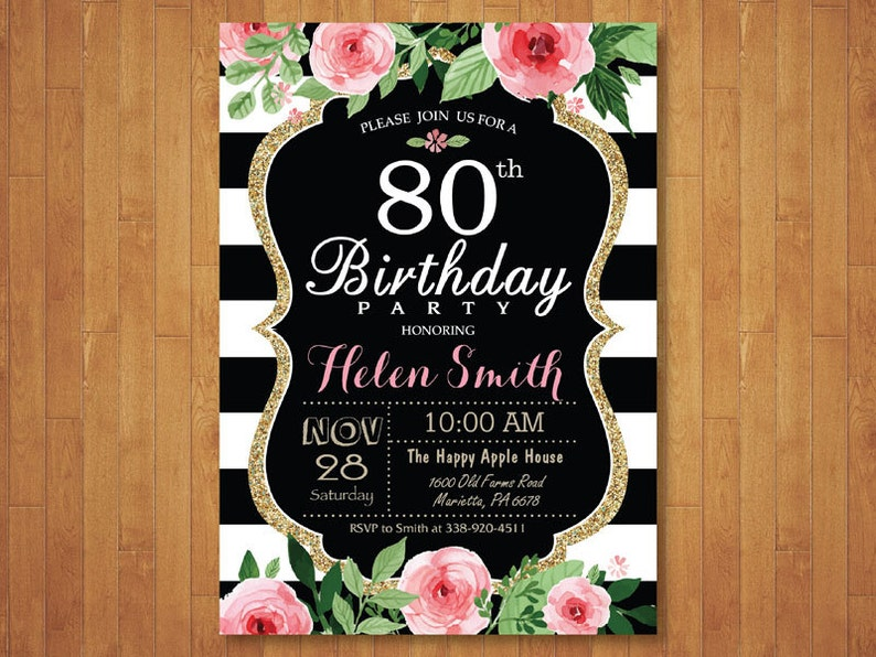 80th Birthday Invitation For Women Pink Watercolor Floral