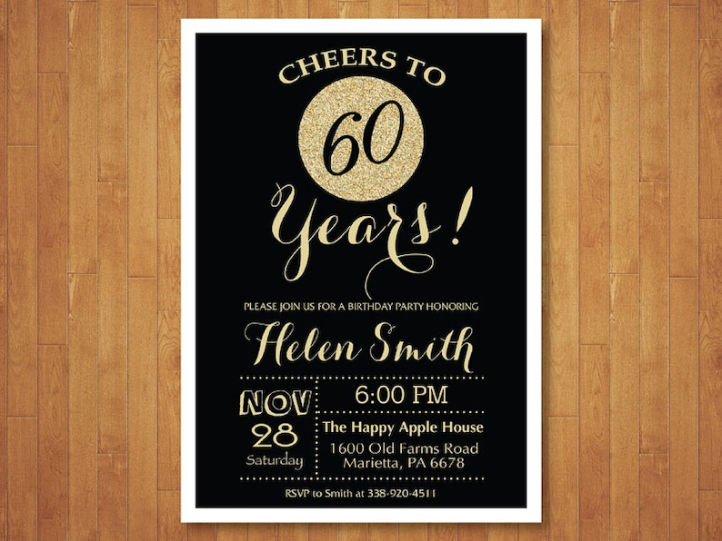 60th Birthday Invitation Black And Gold Glitter Cheers To 60