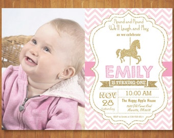 Carousel Birthday Invitation with Photo. Carousel Party Invitation. Pink and Gold. Gold Glitter. Girl Birthday Invite. Printable Digital
