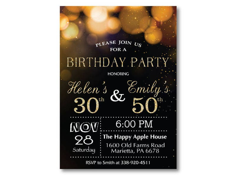 Adult Joint Birthday Invitation Party Combined Co Gold Glitter Glam Printable Digital