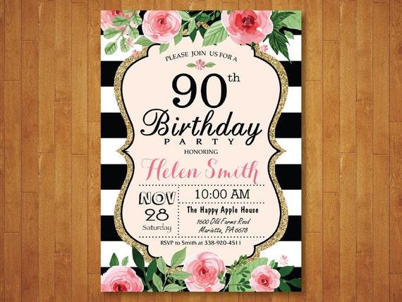 90 A Invitación De Cumpleaños Para Las Mujeres Rosa Acuarela Floral Rayas Blanco Y Negro 80 70 21 18 16 De Cualquier Edad Digital Para Imprimir