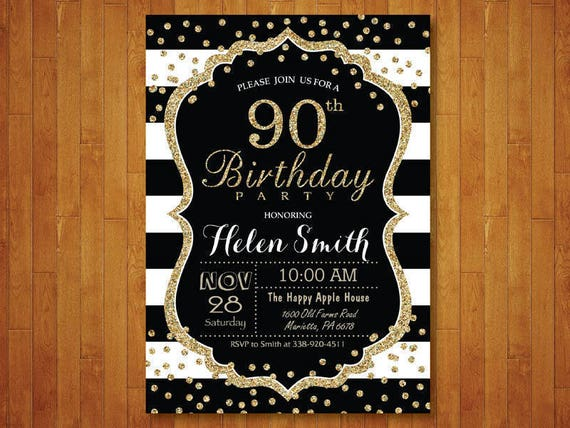90th Birthday Invitation For Women Surprise