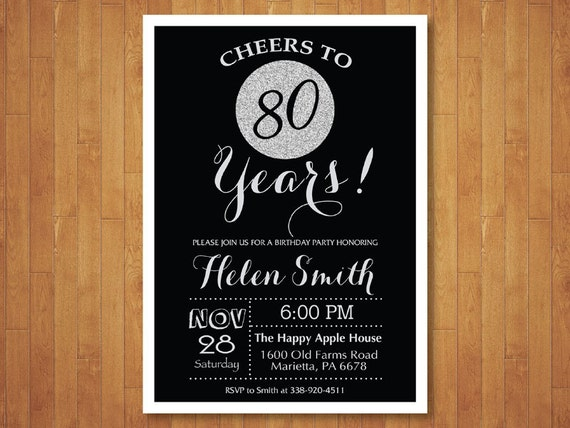 60th Birthday Invitation Black And Silver Glitter Cheers To