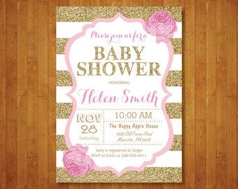 Pink and Gold Baby Shower Invitation. Pink Black Gold Glitter. Floral. Baby Girl Shower Invitation. Black Stripes. Printable Digital.