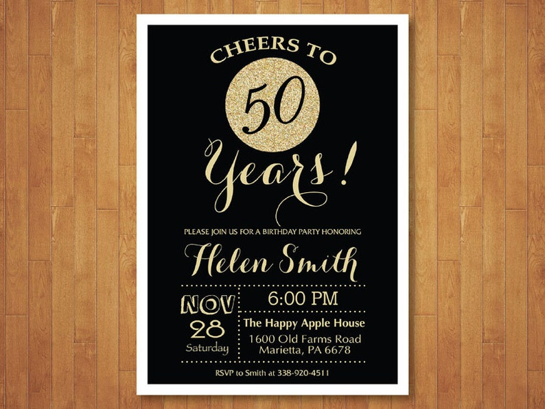 50th Birthday Invitation Black And Gold Glitter Cheers To 50