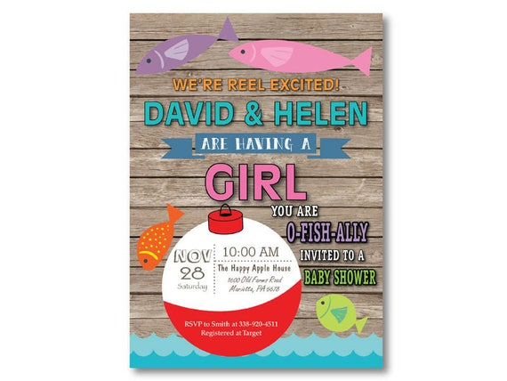Fishing baby shower invitation fishing invitation girl fish etsy image 0 filmwisefo