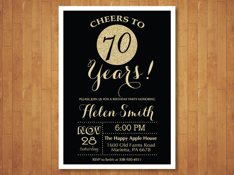 70th Birthday Invitation Black And Gold Glitter Cheers To 70
