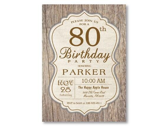 80th Birthday Invitation Rustic Wood Vintage Man