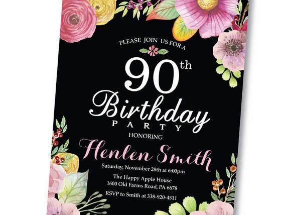 Invitación Del Cumpleaños Número 90 Invitación De Cumpleaños Floral Flores Acuarela Pizarra Rosa Amarillo Morado Para Las Mujeres Digital Para