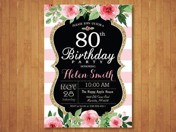 90 A Invitación De Cumpleaños Para Las Mujeres Rosa Acuarela Floral Rayas Rosas Y Blancos 80 70 21 18 16 De Cualquier Edad Digital Para Imprimir