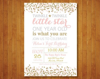 Twinkle Twinkle Little Star First Birthday Invitation. Girl 1st Birthday Invite. Pink and Gold Bady. Gold Glitter. Printable Digital.