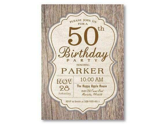 50th birthday invitation rustic wood vintage man birthday etsy image 0 filmwisefo