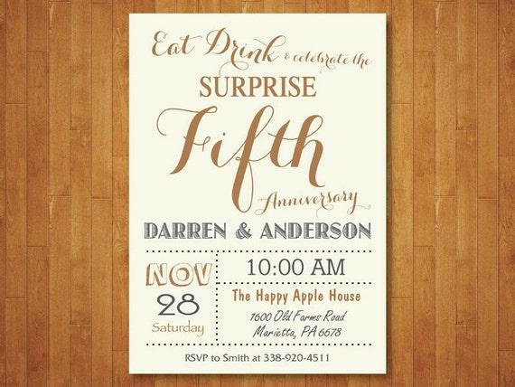 Surprise 50th Wedding Anniversary Invitation Fifth Etsy
