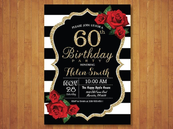 60th birthday invitation for women red roses black and white etsy image 0 filmwisefo