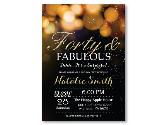 Surprise 40th Birthday Invitation Gold Glitter Bokeh Forty