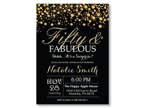 Surprise 50th Birthday Invitation Black And Gold Glitter