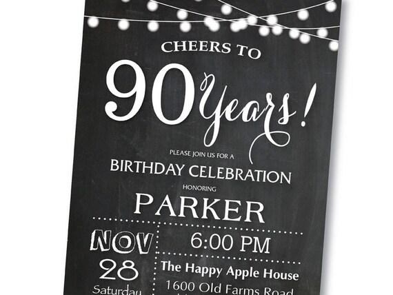 Invitación Del Cumpleaños Número 90 Pizarra 40 50 60 70 80 Cualquier Edad Blanco Y Negro Invitación De Cumpleaños De Sorpresa Digital Para