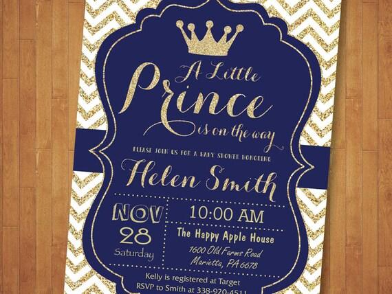 Książę Baby Shower Zaproszenia Królewski Błękit I Złoto Korony Chłopca Nasz Mały Książę Jest W Drodze Złoty Brokat Chevron Do Druku Cyfrowego