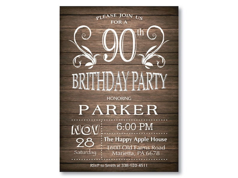 90th Birthday Invitation For Men Rustic 16th 18th 21st 70th 80th