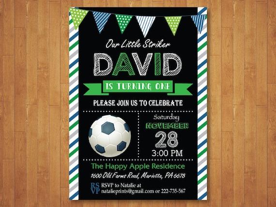 Invitación De Cumpleaños De Fútbol Niño Fútbol Tema Fiesta De Cumpleaños Verde Azul Pizarra 10 9 8 7 6 De Cualquier Edad Digital Para Imprimir