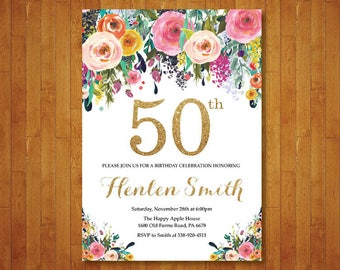 50th Birthday Invitation for women. Floral Birthday Invitation. Gold Birthday Invite. 40th 60th 70th 80th 90th Any Age. Printable Digital.