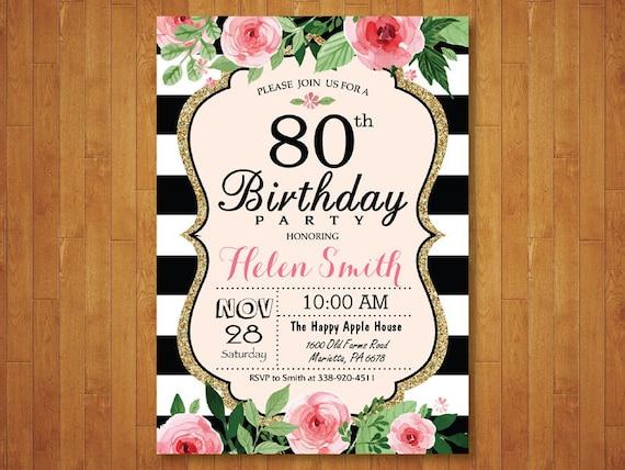 Invitación Del Cumpleaños 80 Años Para Las Mujeres Rosa Acuarela Floral Rayas Blanco Y Negro 16 21 40 50 90 Cualquier Edad Digital Para Imprimir