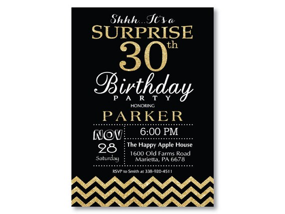 Surprise 30th Birthday Invitation Glitter Gold And Black