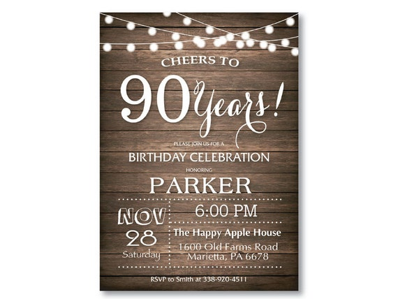 90th Birthday Invitation Rustic 30th 40th 50th 60th 70th 80th