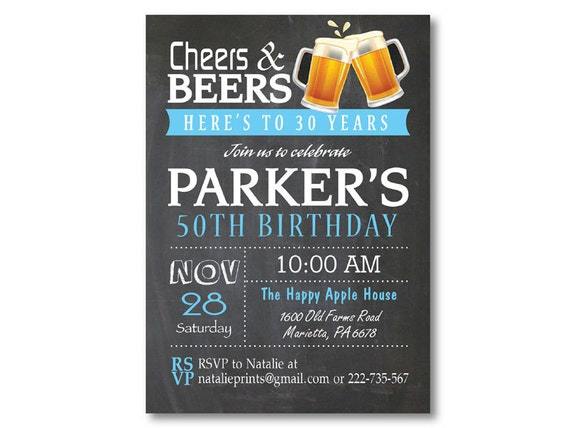 50th Birthday Invitation For Men Cheers And Beers