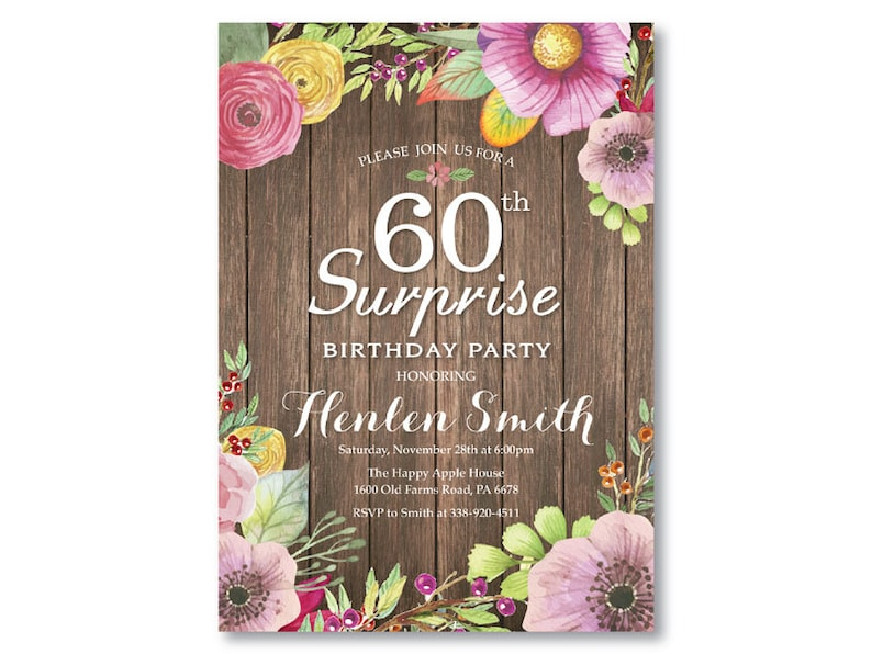 Surprise 60th Birthday Invitation For Women Rustic