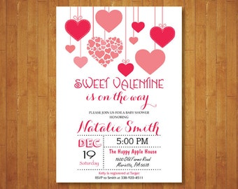 Valentines Baby Shower Invitation. Hearts Baby Shower Invitation. Valentine Baby. February. Red and Pink. Girl or Boy. Printable Digital.