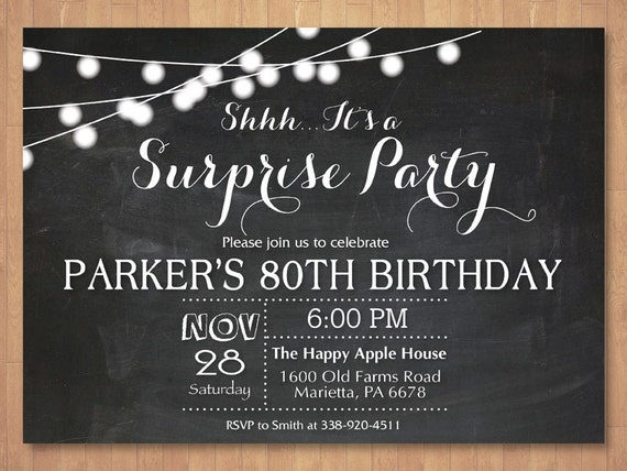 Surprise 80th Birthday Invitation Chalkboard 30th 40th 50th