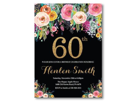 60th Birthday Invitation For Women Floral Birthday Etsy
