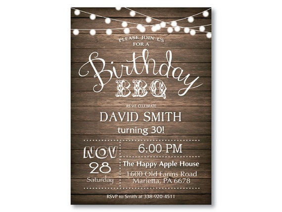 Birthday BBQ Invitation 30th 40th 50th